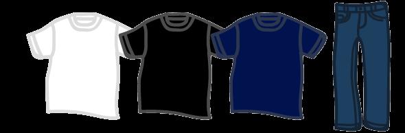 黒白ネイビーなどシンプルなTシャツとジーンズ